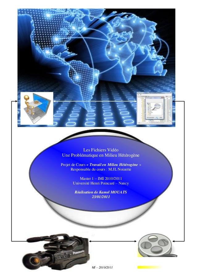 Les Fichiers VidéosTravail en Environnement Hétérogène – Master 1 IMI – 2010/2011 1Les Fichiers VidéoUne Problématique en ...