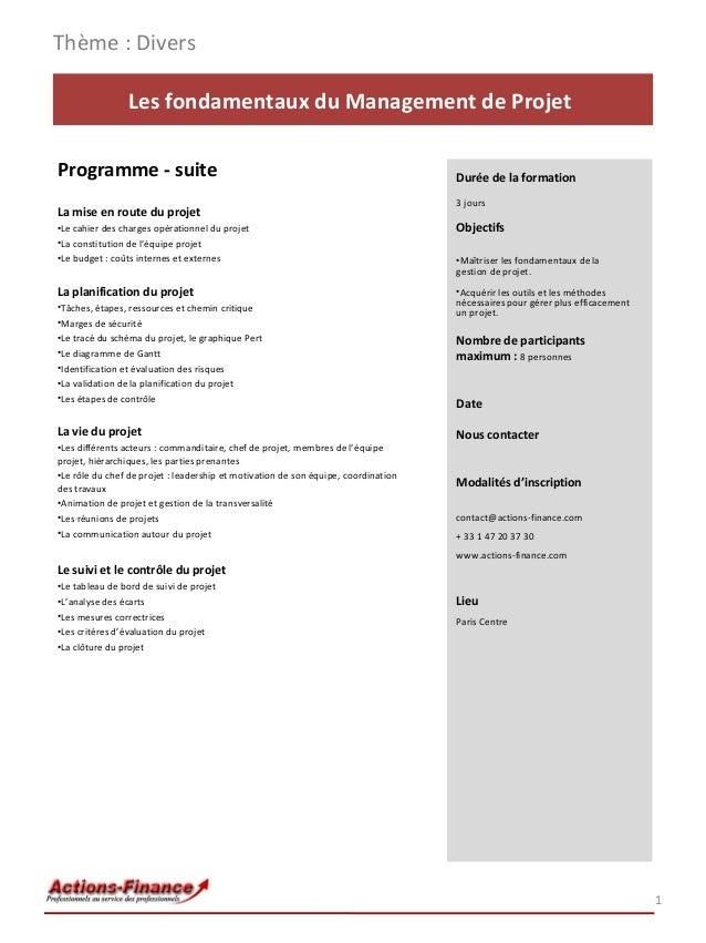 Formation Les fondamentaux du Management de Projet