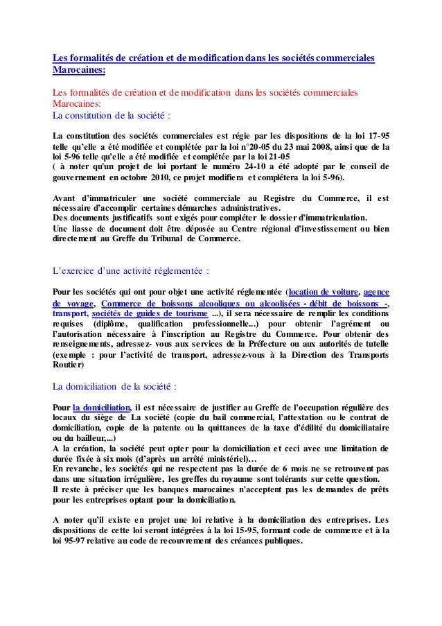 Les formalités de création et de modification dans les sociétés commerciales Marocaines: Les formalités de création et de ...