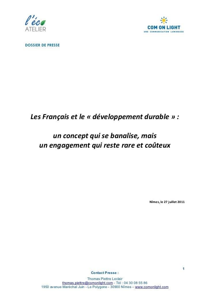 Les français et le developpement durable