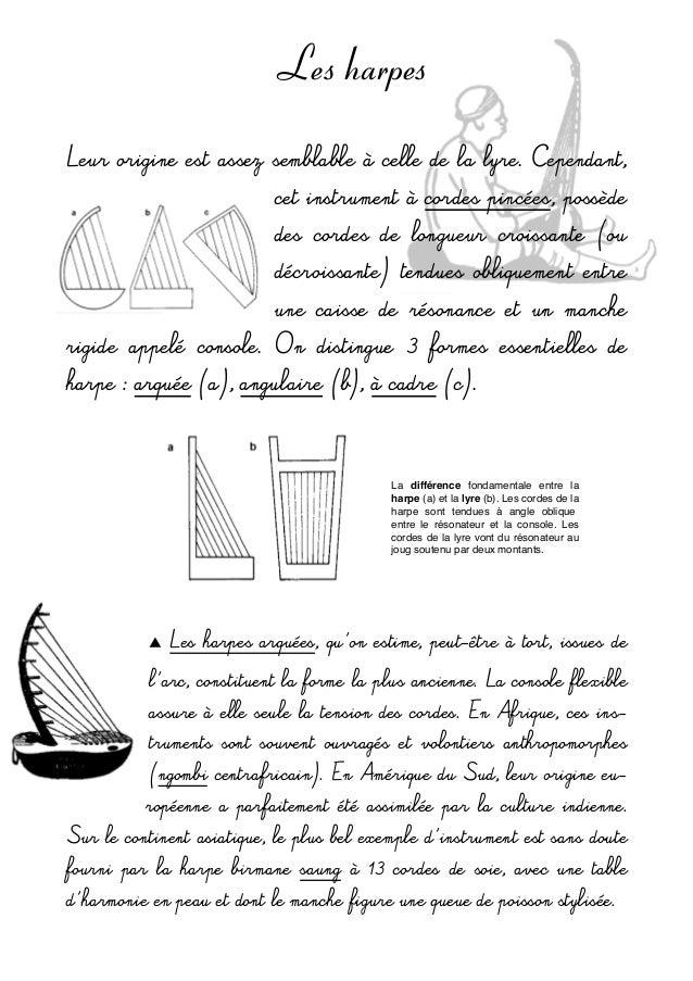 Les harpes Leurorigineestassezsemblable à celledelalyre.Cependant, cetinstrumentàcordespincées,possède de...