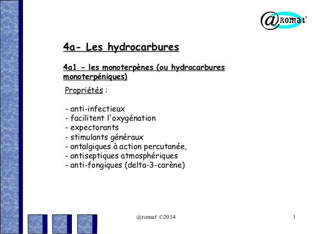 4a- Les hydrocarbures 4a1 - les monoterpènes (ou hydrocarbures monoterpéniques) Propriétés : - anti-infectieux - faciliten...
