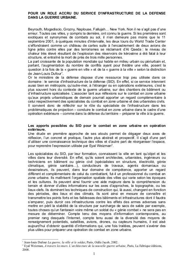 POUR UN ROLE ACCRU DU SERVICE D'INFRASTRUCTURE DE LA DEFENSE    DANS LA GUERRE URBAINE.    Beyrouth, Mogadiscio, Grozny, N...