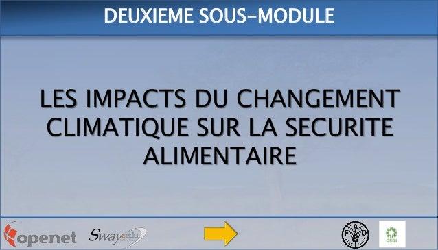 DEUXIEME SOUS-MODULE  LES IMPACTS DU CHANGEMENT CLIMATIQUE SUR LA SECURITE ALIMENTAIRE