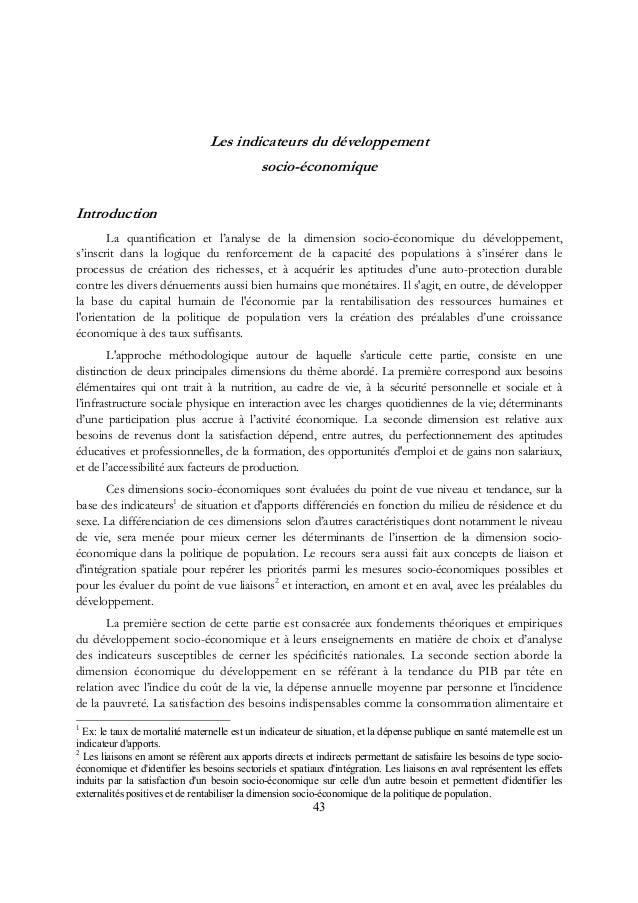 Les indicateurs du développement socio-économique Introduction La quantification et l'analyse de la dimension socio-économ...
