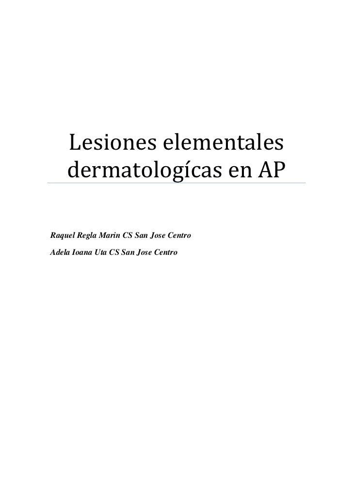 Lesiones elementales    dermatologícas en APRaquel Regla Marin CS San Jose CentroAdela Ioana Uta CS San Jose Centro