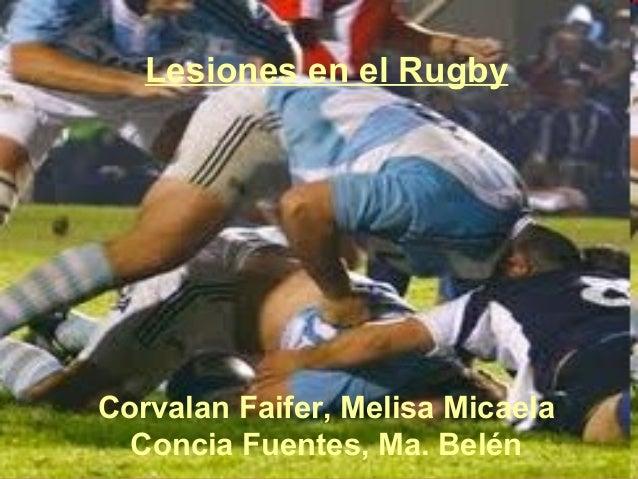 Lesiones en el RugbyCorvalan Faifer, Melisa Micaela  Concia Fuentes, Ma. Belén