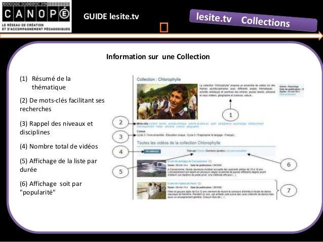 GUIDE lesite.tv (1) Résumé de la thématique (2) De mots-clés facilitant ses recherches (3) Rappel des niveaux et disciplin...
