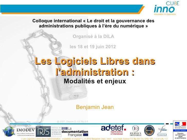 Innovation is Openness            Colloque international « Le droit et la gouvernance des              administrations pub...