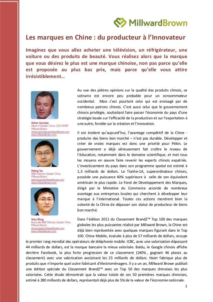 Millward Brown : Les Marques en Chine du producteur à l'innovateur