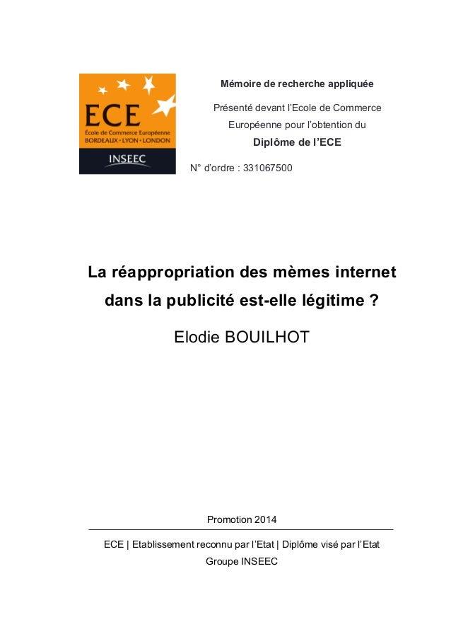 Mémoire de recherche appliquée  Présenté devant l'Ecole de Commerce  Européenne pour l'obtention du  Diplôme de l'ECE  N° ...