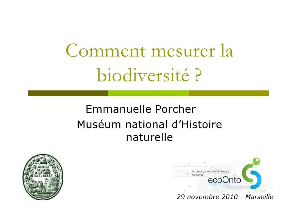 Les mesures de biodiversite - ecoOnto meeting