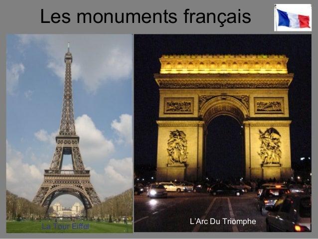 Les monuments français La Tour Eiffel L'Arc Du Triomphe