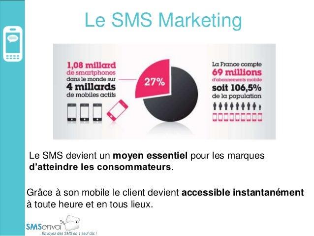 Le SMS Marketing Le SMS devient un moyen essentiel pour les marques d'atteindre les consommateurs. Grâce à son mobile le c...