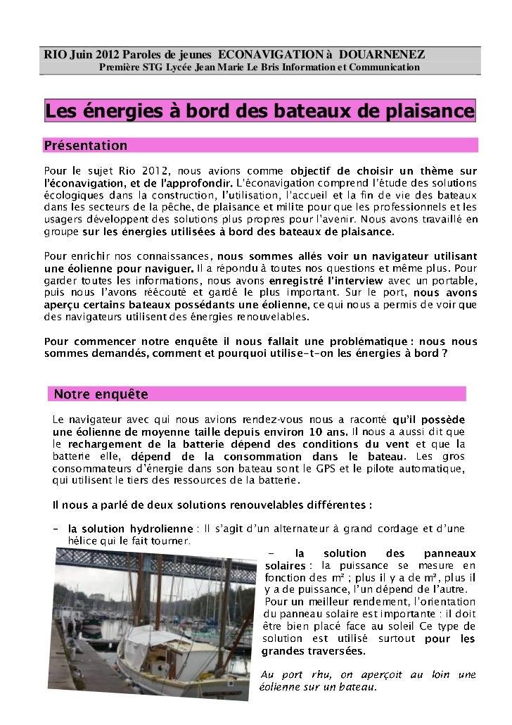 RIO Juin 2012 Paroles de jeunes ECONAVIGATION à DOUARNENEZ        Première STG Lycée Jean Marie Le Bris Information et Com...