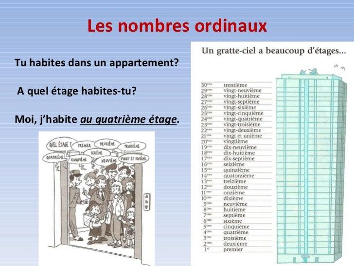 Les nombres ordinaux Tu habites dans un appartement? A quel étage habites-tu? Moi, j'habite  au quatrième étage .