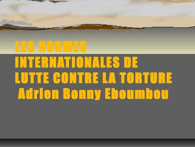 LES NORMES  INTERNATIONALES DE  LUTTE CONTRE LA TORTURE  Adrien Bonny Eboumbou