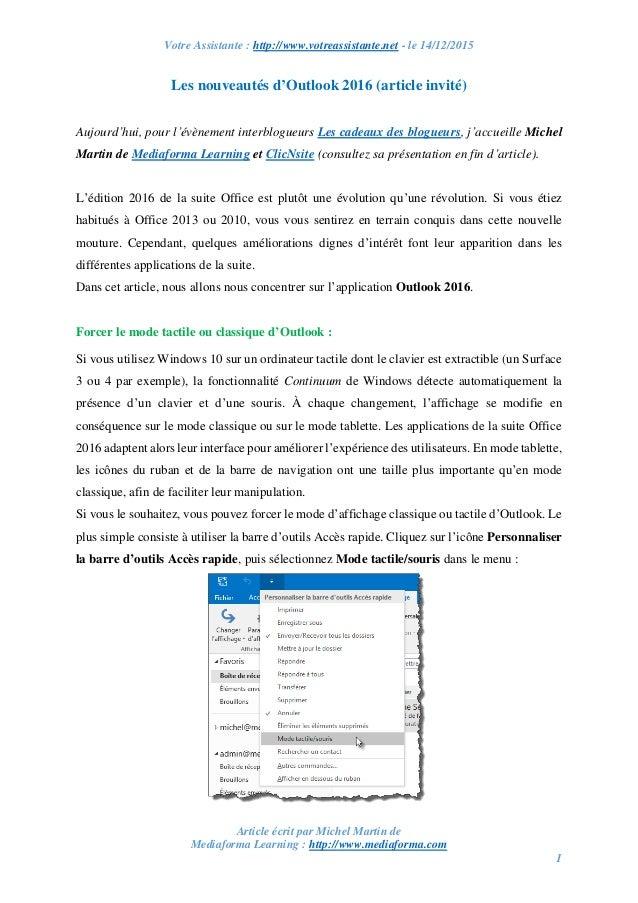 Votre Assistante : http://www.votreassistante.net - le 14/12/2015 Article écrit par Michel Martin de Mediaforma Learning :...