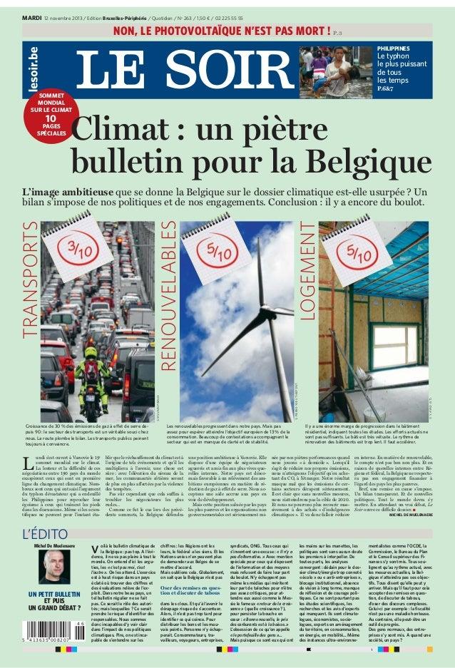 MARDI 12 novembre 2013 / Edition Bruxelles-Périphérie / Quotidien / No 263 / 1,50 € / 02 225 55 55  NON, LE PHOTOVOLTAÏQUE...