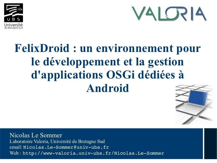 FelixDroid: Application de gestion du framework Felix pour Android