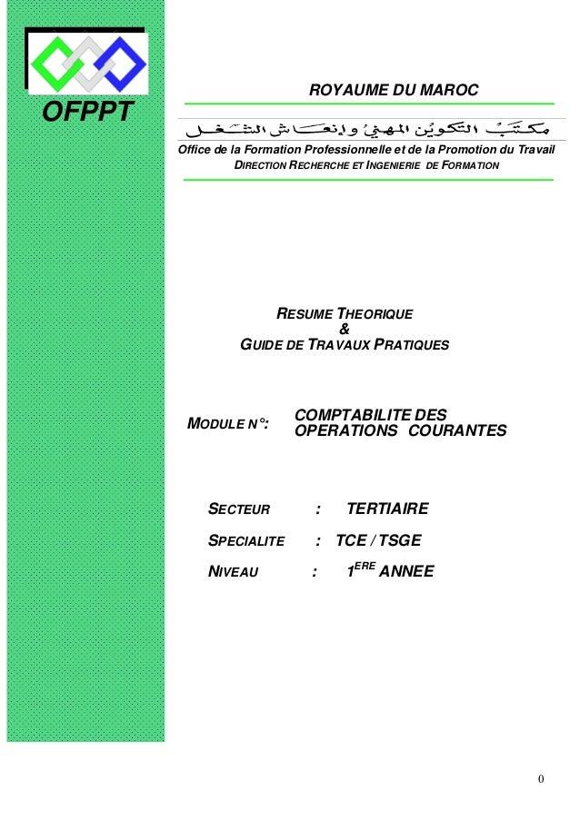 0 OFPPT ROYAUME DU MAROC MODULE N°: COMPTABILITE DES OPERATIONS COURANTES SECTEUR : TERTIAIRE SPECIALITE : TCE / TSGE NIVE...