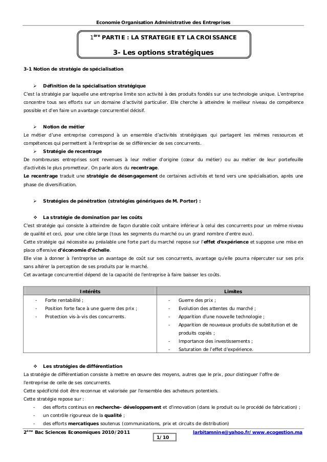 Economie Organisation Administrative des Entreprises 2ème Bac Sciences Economiques 2010/2011 larbitamnine@yahoo.fr/www.eco...