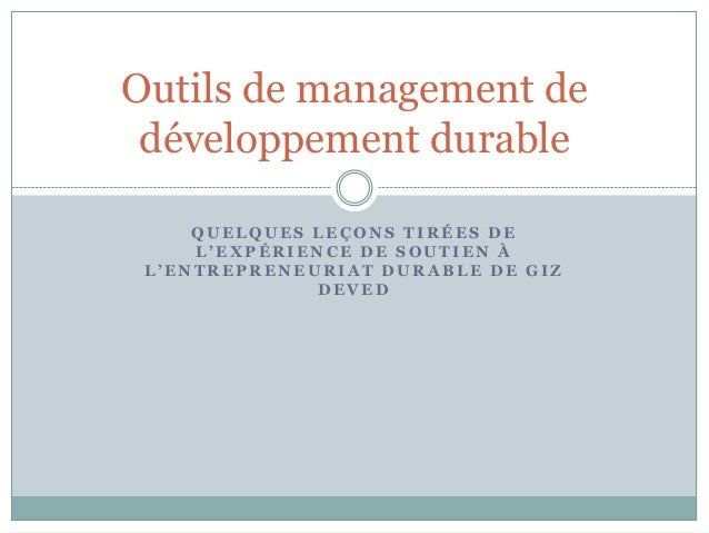 Outils de management de développement durable     QUELQUES LEÇONS TIRÉES DE     L'EXPÉRIENCE DE SOUTIEN À L'ENTREPRENEURIA...