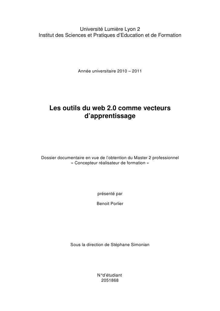 Université Lumière Lyon 2Institut des Sciences et Pratiques d'Education et de Formation                   Année universita...