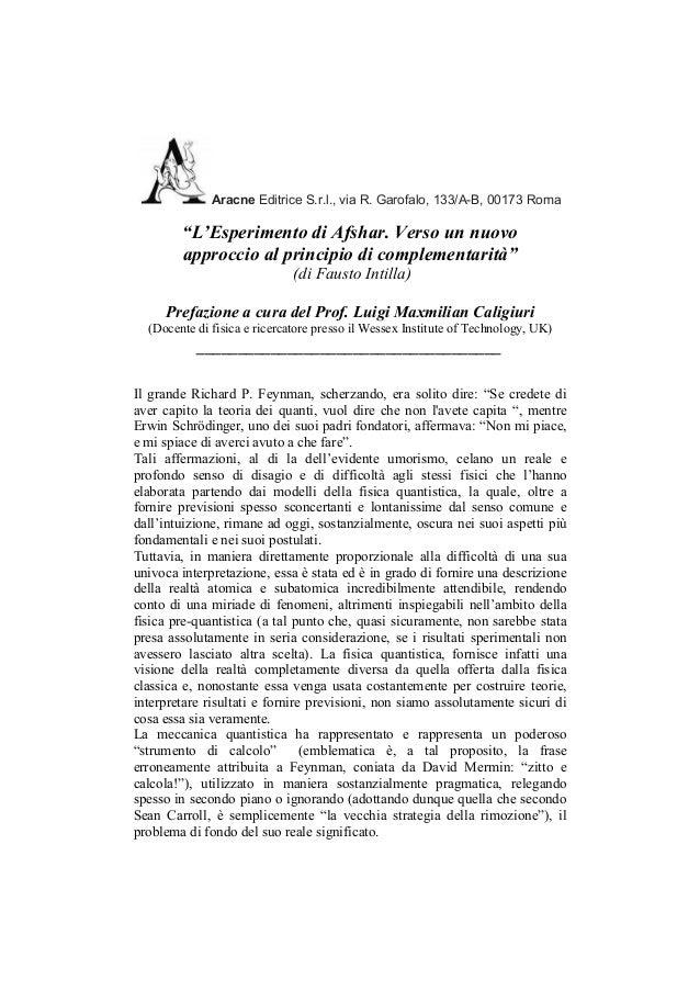 """Aracne Editrice S.r.l., via R. Garofalo, 133/A-B, 00173 Roma        """"L'Esperimento di Afshar. Verso un nuovo        approc..."""