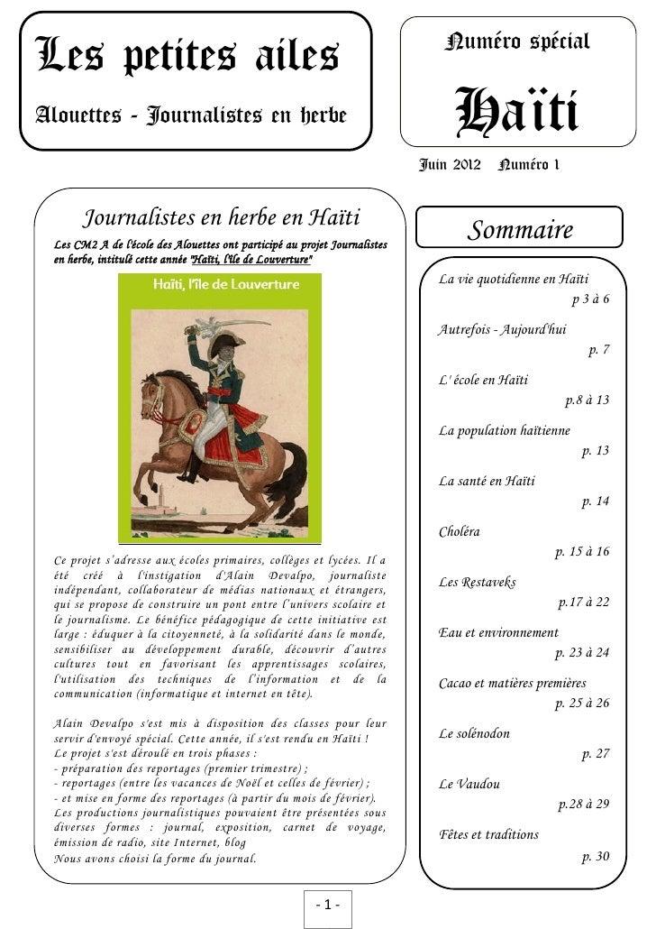 Numéro spécialLes petites ailesAlouettes - Journalistes en herbe                                               Haïti      ...