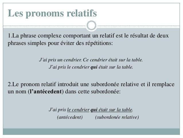 Les pronoms relatifs 1.La phrase complexe comportant un relatif est le résultat de deux phrases simples pour éviter des ré...