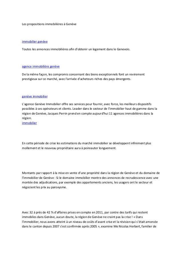 Les propositions immobilières à Genèveimmobilier genèveToutes les annonces immobilières afin dobtenir un logement dans le ...