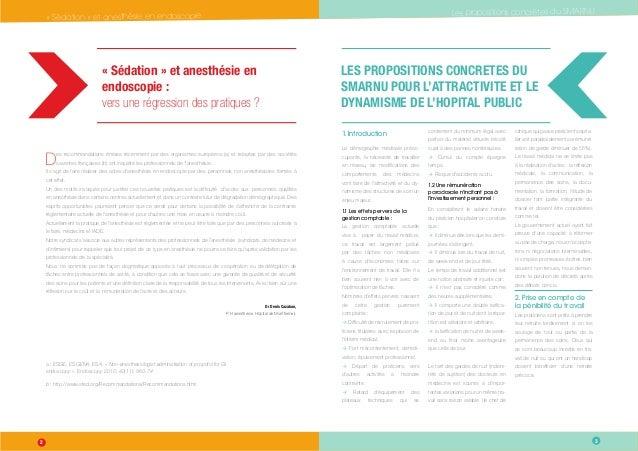 Les propositions concrètes du SMARNU  « Sédation » et anesthésie en endoscopie « Sédation » et anesthésie en endoscopie  «...