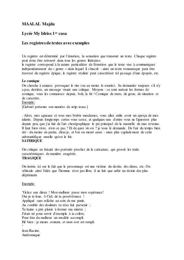 MAALAL Majda Lycée My Idriss 1er casa Les registres de textes avec exemples Un registre est déterminé par l'émotion, la se...