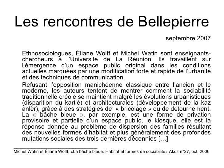 Les rencontres de Bellepierre                                                                              septembre 2007 ...