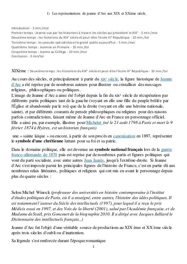 1 1) Les représentations de jeanne d'Arc aux XIX et XXème siècle. Introduction - 3 min./moi Premier temps : Jeanne vue par...