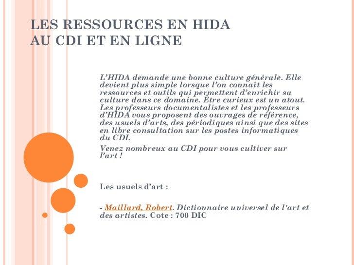 Les ressources en hida