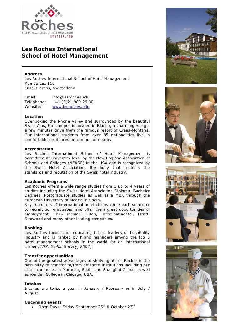 Les Roches International School of Hotel Management   Address Les Roches International School of Hotel Management Rue du L...