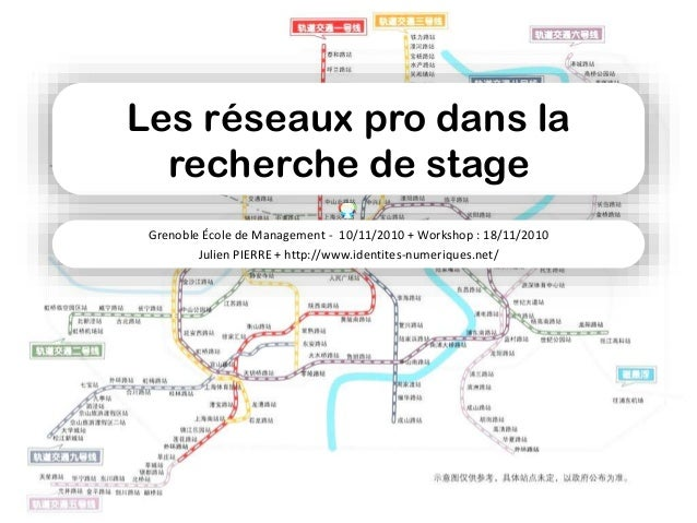 Les réseaux pro dans la recherche de stage Grenoble École de Management - 10/11/2010 + Workshop : 18/11/2010 Julien PIERRE...