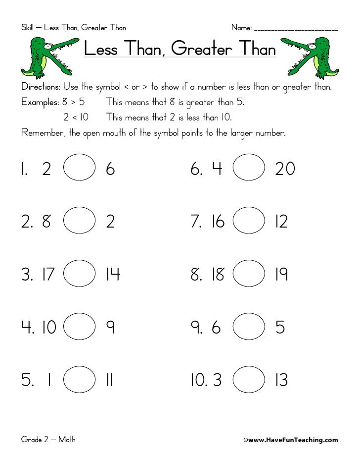 Free printable greater than less than equal worksheets