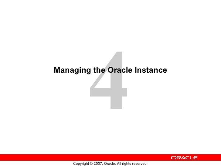 Managing the Oracle Instance