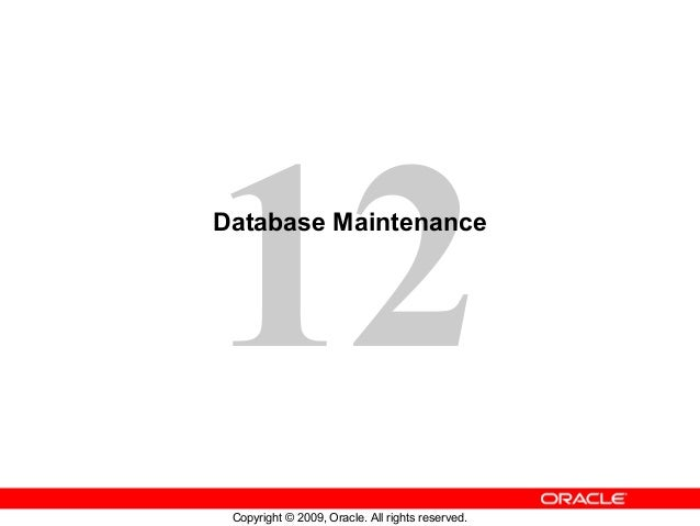 12Database Maintenance Copyright © 2009, Oracle. All rights reserved.
