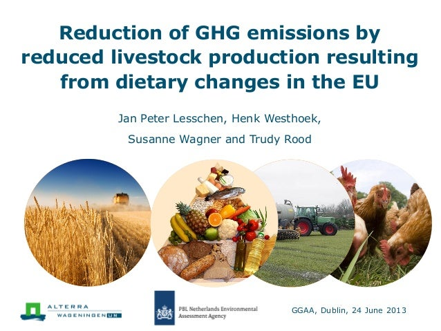 Reduction of GHG emissions by reduced livestock production resulting from dietary changes in the EU