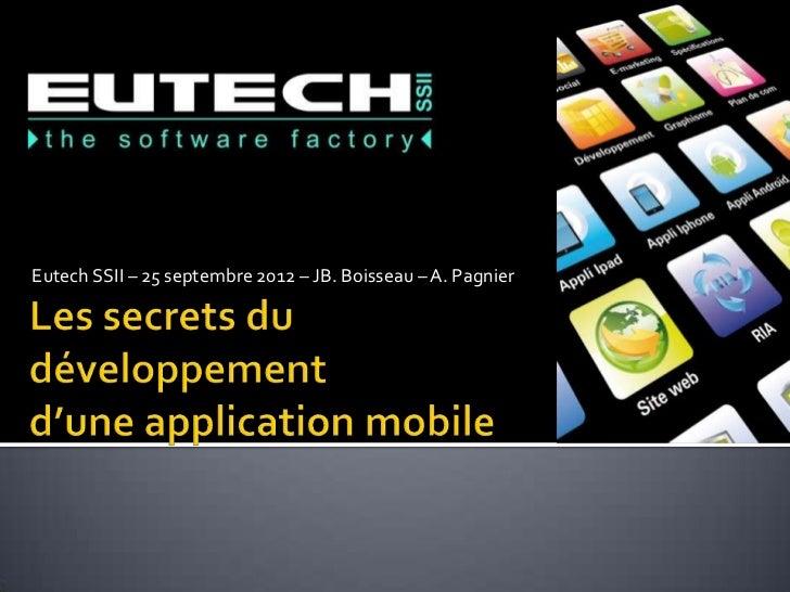 Eutech SSII – 25 septembre 2012 – JB. Boisseau – A. Pagnier