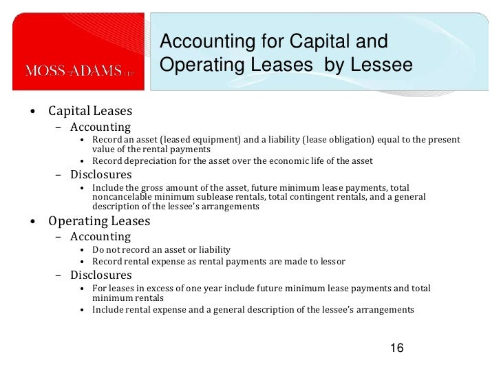 a report on accounting for leases Accounting for leases is the application of this concept, as the classification of a lease as either a finance lease or an operating lease, depends on the substance of the transactions rather than the legal form of the contract.