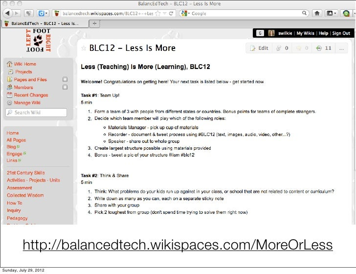 Less (teaching) Is More (learning) BLC12
