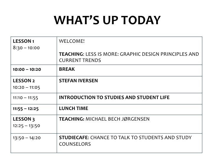 WHAT'S UP TODAYLESSON 1        WELCOME!8:30 – 10:00                TEACHING: LESS IS MORE: GRAPHIC DESIGN PRINCIPLES AND  ...