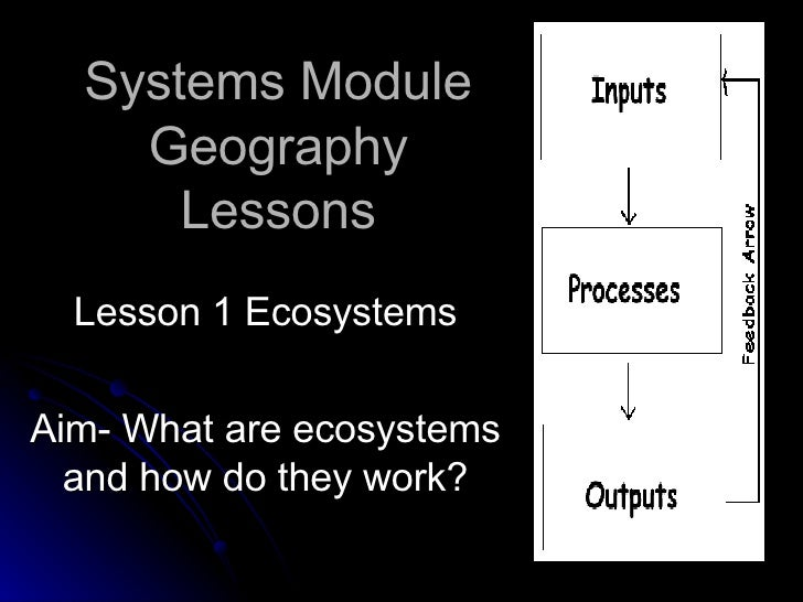 Systems Module Geography Lessons Lesson 1 Ecosystems Aim- What are ecosystems and how do they work?