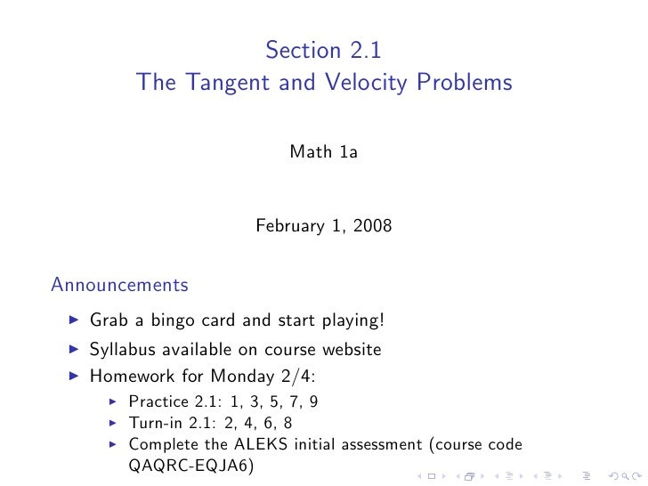 Section 2.1         The Tangent and Velocity Problems                             Math 1a                          Februar...