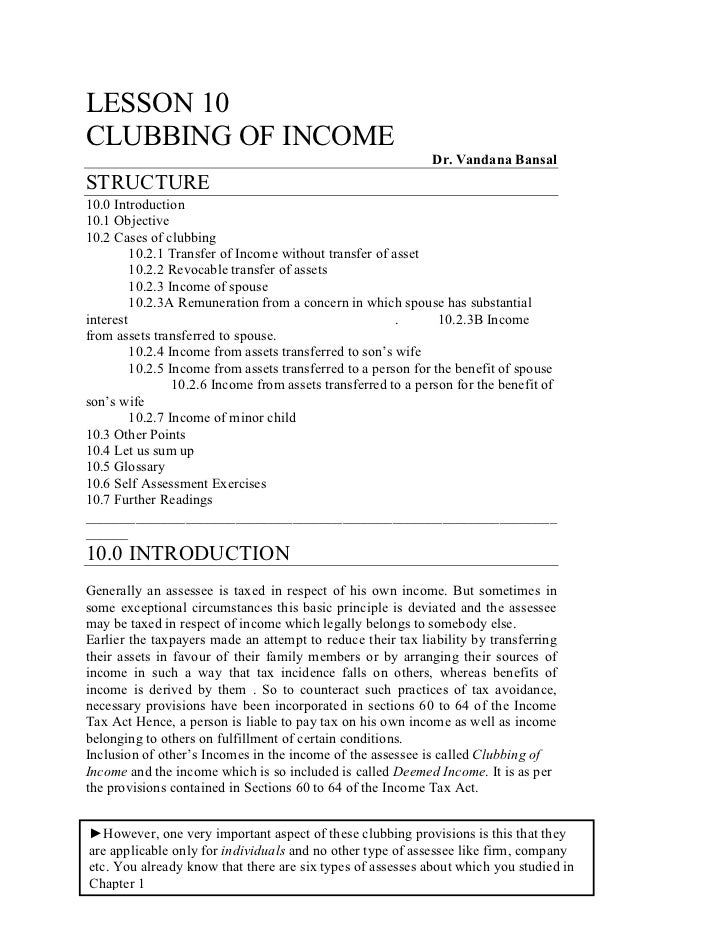 Lesson 10 clubbing of -income